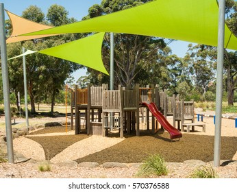 Playground and picnic facilities at Burnley Park, a public park spanning the suburbs of Richmond and Burnley in inner urban Melbourne, Australia.