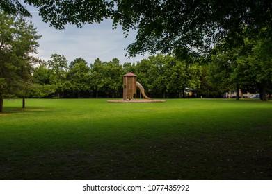 playground in the summer city park. Switzeland. Basel.