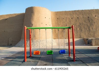 Playground swing in front of the fortress, Kashan City - Iran