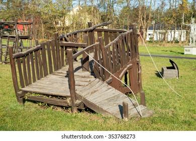 Playground of wood for children / Playground