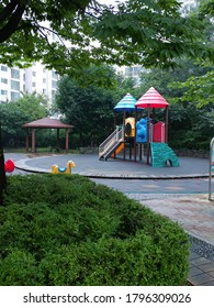 playgrounds on a rainyday at an apartment in paju city korea republic.