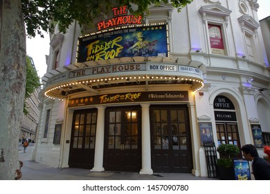 The Playhouse Theatre in the London West End advertising Fiddler on the Roof featuring the original choreography by Jerome Robbins - London, England, United Kingdom - July 19, 2019