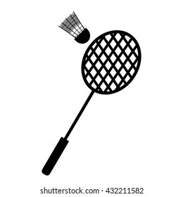 Playing badminton racket and shuttlecock silhouettes on a white background. vector illustration