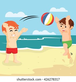 playing ball with his friend in beach