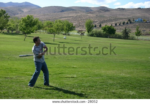 playing baseball in the park