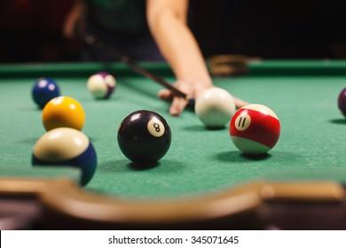 Playing Billiard   Close Up Shot Of A Man Playing Billiard