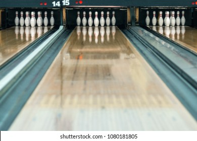 Playing bowling at the number 15 bowling alley