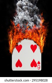 Playing card with fire and smoke, isolated on white - Six of hearts