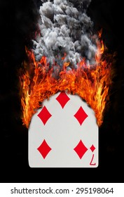 Playing card with fire and smoke, isolated on white - Seven of diamonds