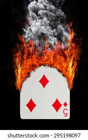 Playing card with fire and smoke, isolated on white - Five of diamonds