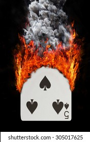 Playing card with fire and smoke, isolated on white - Five of spades
