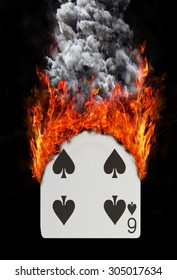 Playing card with fire and smoke, isolated on white - Six of spades