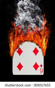 Playing card with fire and smoke, isolated on white - Six of diamonds