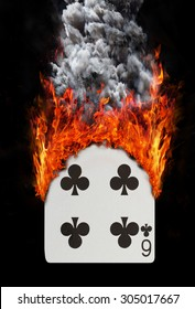Playing card with fire and smoke, isolated on white - Six of clubs