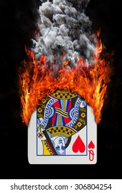 Playing card with fire and smoke, isolated on white - Queen of hearts