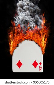 Playing card with fire and smoke, isolated on white - Four of diamonds