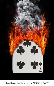 Playing card with fire and smoke, Seven of clubs
