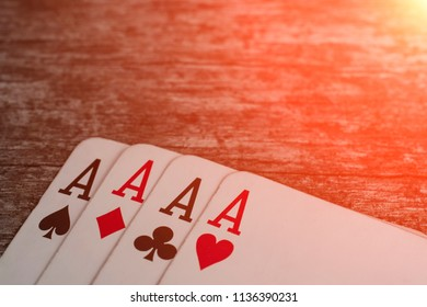 Playing card, game abstract: four ace