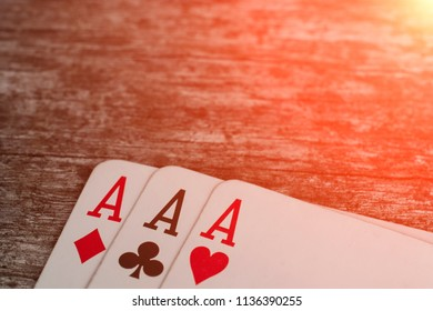 Playing card, game abstract: three ace