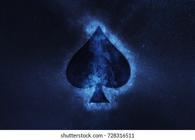 Playing card. Spade symbol. Abstract night sky background