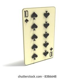 Playing Card: Ten of Spades. 3D render.