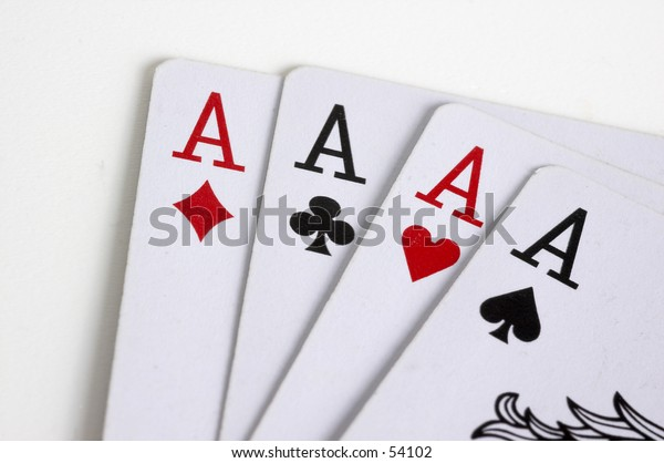 Playing cards 4 aces winning hand