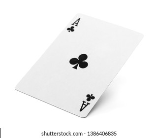Playing cards, ace of club isolated on white background with clipping path, series