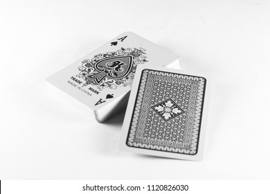 Playing cards, Ace suit with back on white background