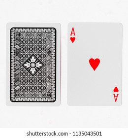 Playing cards, Ace suite with back on white background