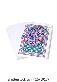 Playing cards and playing bones on a white background