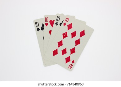Playing cards four tens isolated on white background