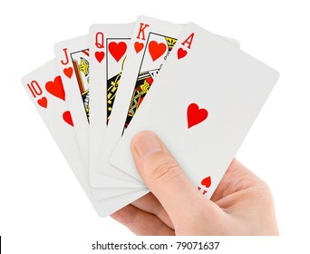 Playing cards in hand isolated on white background