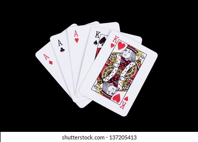 playing cards isolated on a black background,