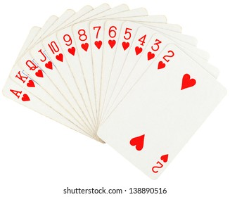 Playing cards isolated on white background
