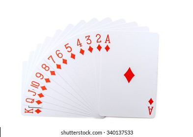 Playing cards isolated on white background. Poker diamonds