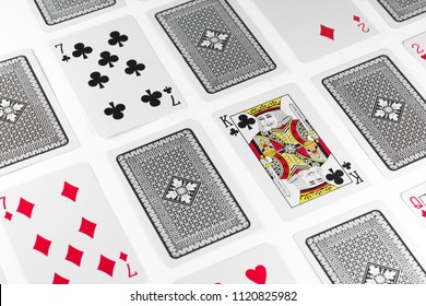 Playing Cards King card and back white background mockup