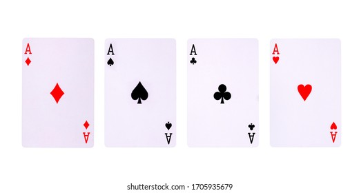 Playing cards for poker game on white background with clipping path. Concept of gamble games and casino