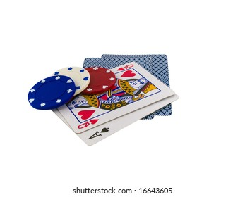 Playing Cards Queen and Ace with Poker Chips on White Background