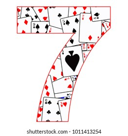Playing cards in random order as a background for the number 7