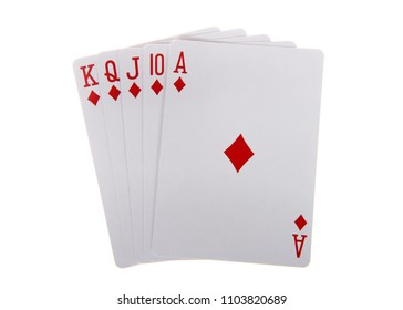 Playing cards, royal flush. A royal flush is a straight flush that has a high card value of Ace. This is the highest hand in the game of poker. Diamonds. Generic cards NO FACES SHOWING