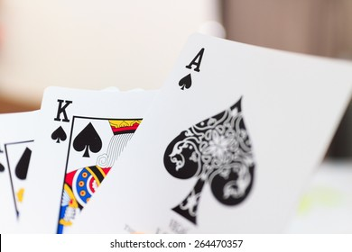playing cards, selective focus