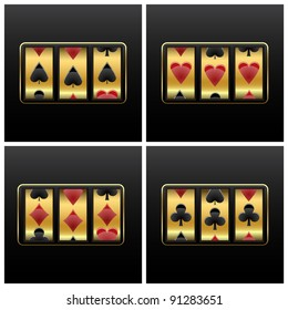 playing cards slot machine against white background, abstract art illustration
