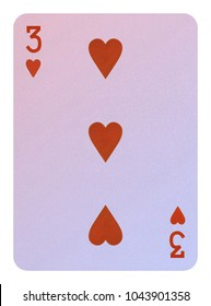 Playing cards, Three of hearts