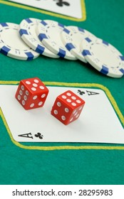 Playing cards,dices and chips on playing table