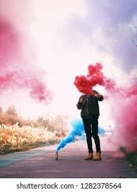 Playing Color smoke bomb