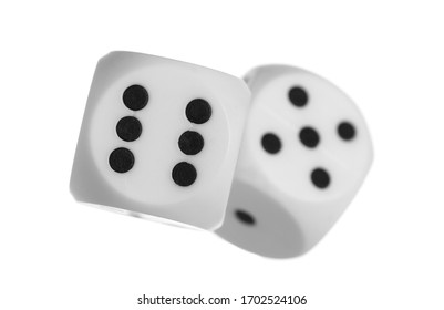 Playing dice for gambling and tabletop games, poker isolated on white background, clipping path