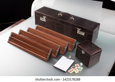 playing field of rummy card game on wooden table coffee
