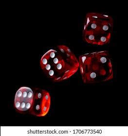 Playing, gambling die, dice for tabletop games and poker isolated on black background with clipping path