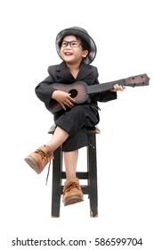 playing guitar asian boy on isolated white background