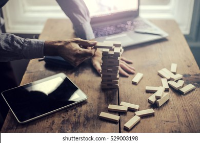 Playing Jenga with the tablet